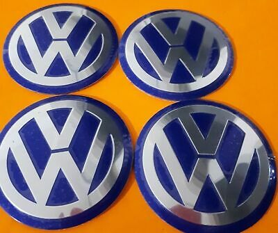 4 x 56MM VW BLUE Aluminium Centre caps Overlay/Sticker/Emblem EMBOSSED LOGO