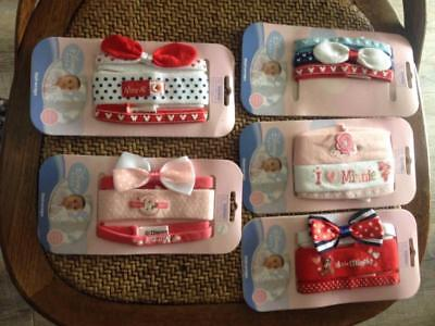 BNWT Disney Baby Cute Pack of 3 Baby Girls Minnie Mouse Hair Wraps Head Bands