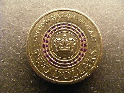 2013 $ 2 TWO DOLLAR Queens Coronation PURPLE Stripe RARE HIGH QUALITY EXACT COIN