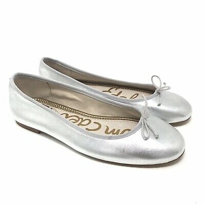 3855bfc11 Sam Edelman Shoes Size 8 Womens Silver Finley Metallic Ballet Flat Leather  Bow