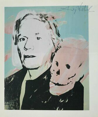 Andy Warhol Hand Signed Signature * Self-Portrait With Skull *  Print  W/ C.o.a.