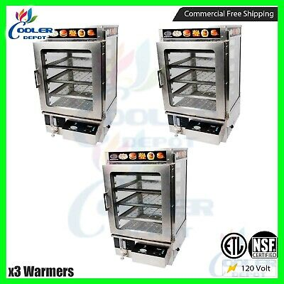 x3 NSF 3 Tier Commercial Food Warmer Cabinet Countertop Heated Showcase Display
