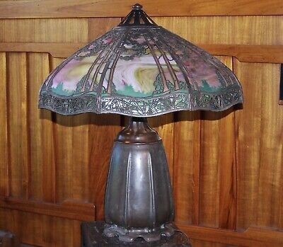 Handel Large Pine tree table lamp, mission arts and crafts