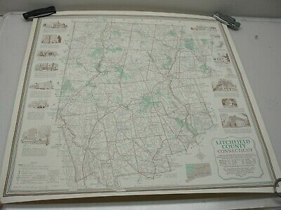 1975 Litchfield County Wall Map Ct Points Of Interest Goshen Kent Cornwall Etc.