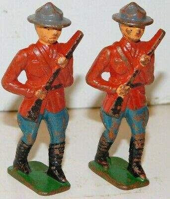 Old GREY IRON 1930s Dimestore Soldiers, 2 Canadian Mounties Advancing w/Rifles