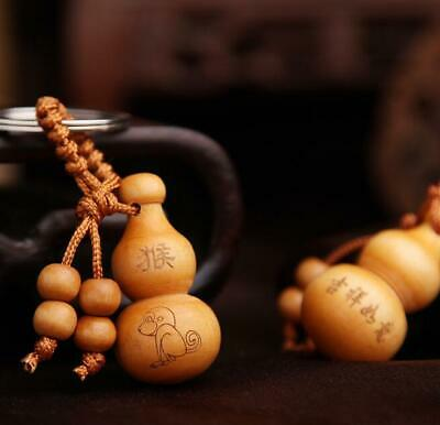 Peach Wood A set Chinese Zodiac Gourd Hanging Ornaments Keychains Woodiness