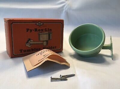 Nos Py-Rox-Lin Vintage Glass Holder W/Screws-Seafoam Green-Mint-Free Shipping!