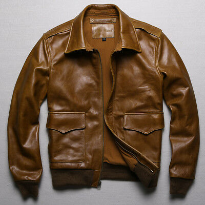 Men 100% Real Leather Jacket Military Air Force Coat Flight Casual Short Outdoor