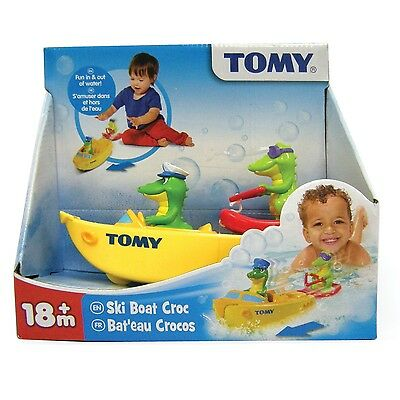 Tomy Bath Toys Ski Boat Croc Pull Back and Let Go