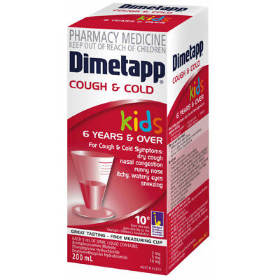 Dimetapp Kids Cold & Cough Elixir 200ml Dry Couhg Runny Nose Nasal Congestion