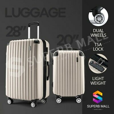2PCS Luggage Suitcase Trolley Sets TSA Carry Hard Case Bag Lightweight Champagne