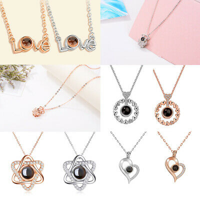 S925 Light Projection Pendant Necklace Jewelry Gift I Love You  in 100 Languages