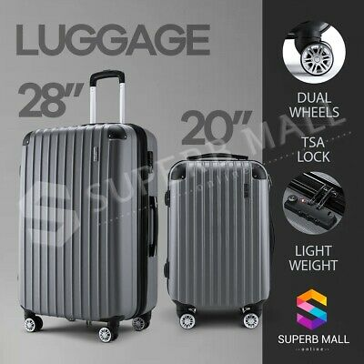2PCS Luggage Suitcase Trolley Sets TSA Carry Hard Case Bag Lightweight Grey