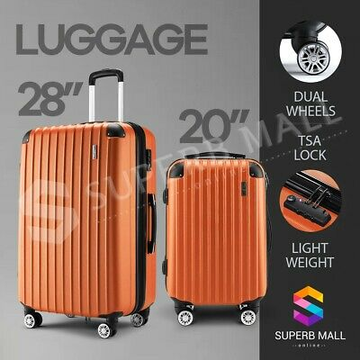 2PCS Luggage Suitcase Trolley Sets TSA Carry Hard Case Bag Lightweight Orange