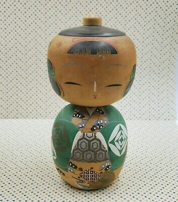 Vintage Japanese KOKESHI Wooden Dolls Pair Couple Hand Made