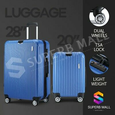 "2PCS 20"" 28"" Luggage Suitcase Trolley Travel TSA Storage Organizer Hard Case"
