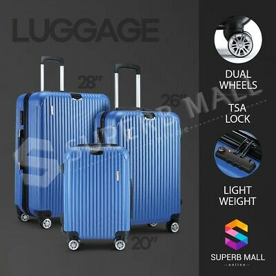 3x Lightweight Luggage Suitcase Set Expandable Spinner Travel Trolley - Blue