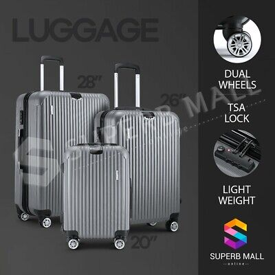 3x Lightweight Luggage Suitcase Set Expandable Spinner Travel Trolley - Grey