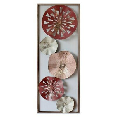 Wine Red Abstract Circles Framed Metal Wall Art 75 cm Hanging Sculpture Home ...