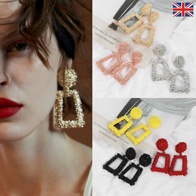 Fashion Punk Jewelry Geometric Dangle Drop Earrings Metal Statement Big Gold AS