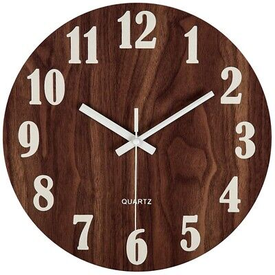 1X(12 Inch Night Light Function Wooden Wall Clock Vintage Rustic Country Tu V8P9