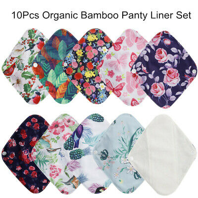 10pcs Reusable Organic Bamboo Cloth Menstrual Sanitary  Pad Washable Panty Liner