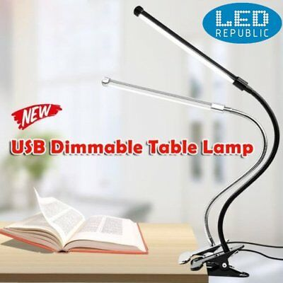 LED Desk Table Lamp USB Dimmable Eye Care Reading Light Flex Clamp Clip YW
