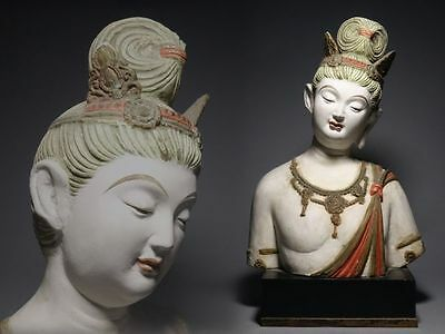 Japanese Old Colored Buddha Guanyin Statue / Plaster / H 32.5 [ cm ]