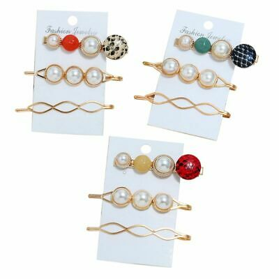 3 Pcs Women Girls Bangs Hair Clip Set Fashion Multicolor Snakeskin Pearl Hairpin