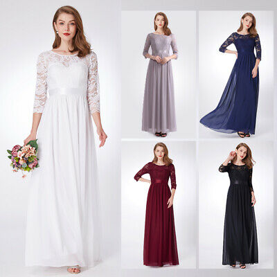 Ever-Pretty Lace Sleeve Wedding Bridesmaid Dress Formal Chiffon Prom Gown 07412