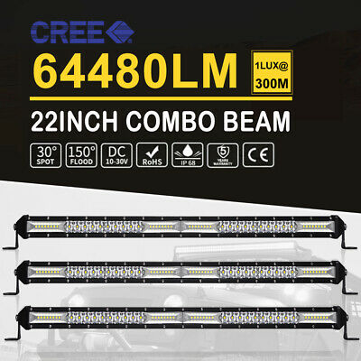 3x 22inch 416W LED Light Bar Slim Row Offroad SPOT FLOOD Work Driving SUV Lamp