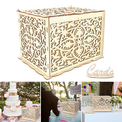 DIY Wedding Card Box With Lock Rustic Carved Wooden Card Box Gift Card Holder CA