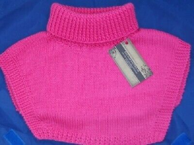 Polo Top Insert Neck Warmer - Candy Pink - Hand Knitted - Golf / Sport - Skiing