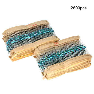 2600pcs 130 Values 1ohm-910kohm 1/4W 1% Metal Film Resistors Assortment Kit J6W1