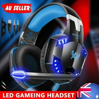 EACH 3.5mm MIC Gaming Headset Blue LED Headphones for PC Laptop 360 PS4 Xbox One