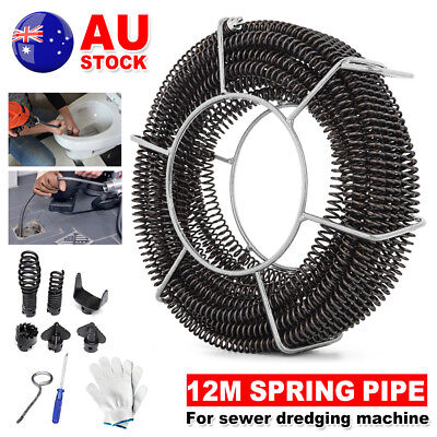 Plumber Drain Snake Pipe Pipeline Sewer Cleaner 12M w 6 Drill Bit Drill Repair