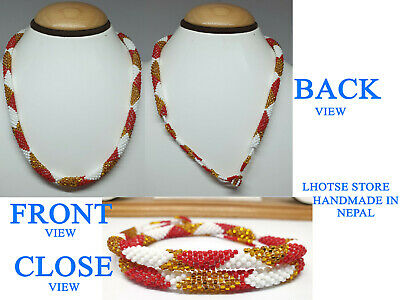 Nepal Laura Bracelet Glass Seed Bead Roll Over Hand Crochet Handmade Necklace