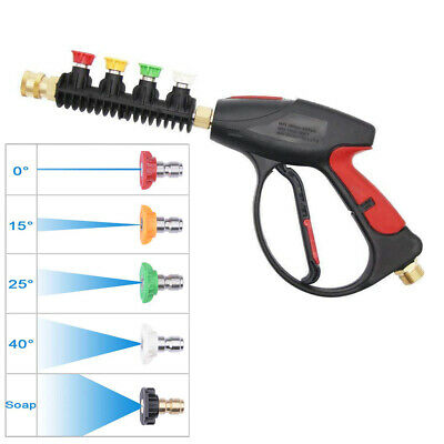 High Pressure Power Washer Gun 4000PSI + 5 Color Nozzles Tips Car Water Wash