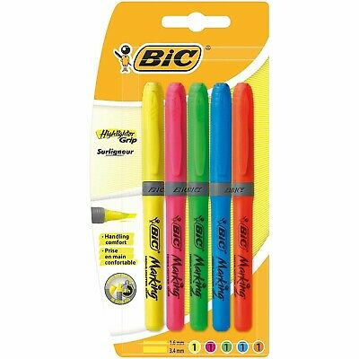 BIC Highlighter Fluorescent Marking Grip Pens  Assorted Colours Pack of 5
