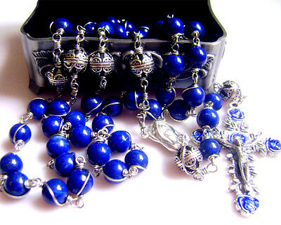 STERLING 925 SILVE Wire Wrapped RLAPIS LAZULI BEADS ROSARY NECKLACE CROSS BOX