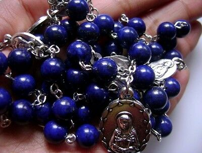 Valuable Seven 7 SORROWS Rosary Rare Natural 8mm Lapis lazuli beads necklace