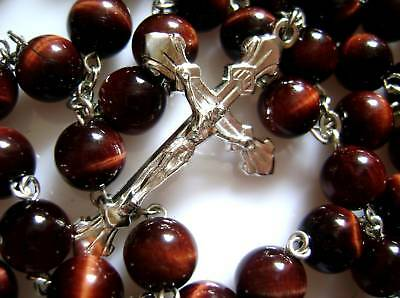 Sterling 925 Silver Tiger Eye Beads Rosary & Cross CRUCIFIX CATHOLIC NECKLACE