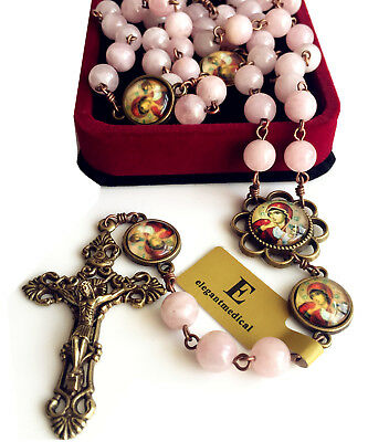 Pink Crystal Quartz Beads Antiqued Catholic 5 DECADE Rosary Bronze Crucifix