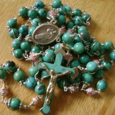 *Silver Wire Wrap Turquoise Bead & Rhodochrosite Beads Rosary & Cross Necklace