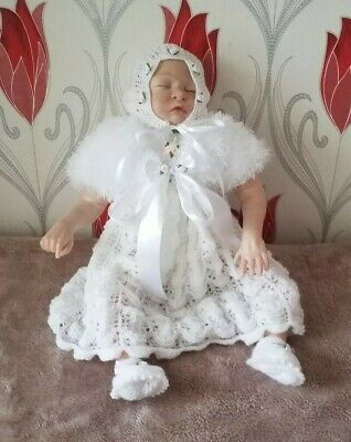 Baby Girl Christening Set 0-3months dress shrug bonnet and shoes knitted white