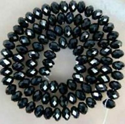 Jewelry 70pc 6*8mm Faceted Rondelle glass crystal Beads black