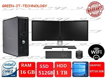 Fast Dell/HP Dual Screen Computer Desktop Win10 16GB 1TB or 512SSD GT710-2GBCard