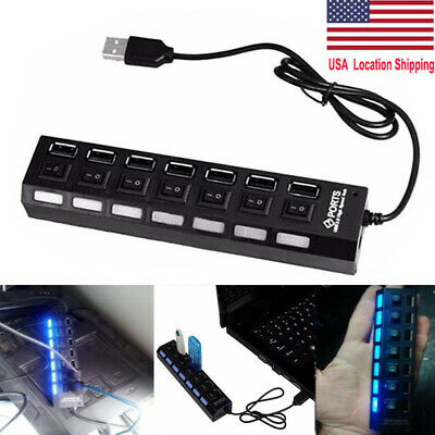 7 Port USB 2.0 Hi-Speed Multi Hub Splitter ON/OFF Switch Laptop Adapter Charger