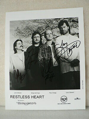 RESTLESS HEART 8 X 10 PHOTO AUTOGRAPHED Country band SIGNED by all 4 members