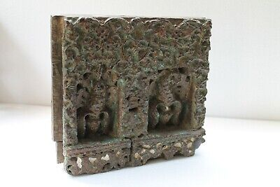 Antique Old Wooden Fine Carving Peacock Engraved Wall Hanging Decor Block NH5238